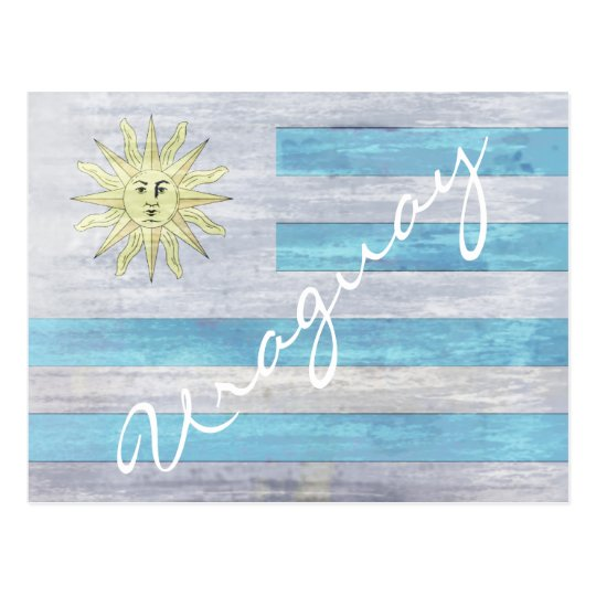 Uraguay distressed flag postcard