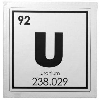 Uranium chemical element symbol chemistry formula napkin