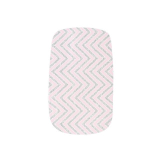 Urban Beauty Pink Silver White Chevron Glam Minx Nail Art
