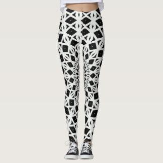 Urban Black & White Diamonds Yoga Mandala Leggings