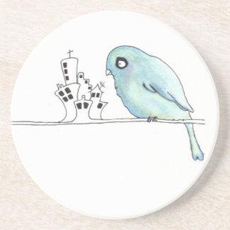 urban blue bird on a wire beverage coaster