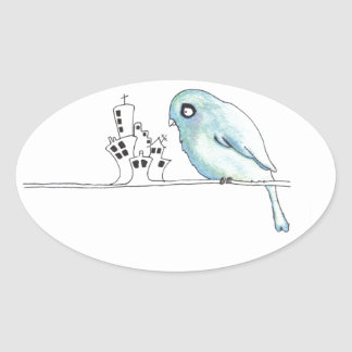 urban blue bird on a wire oval sticker