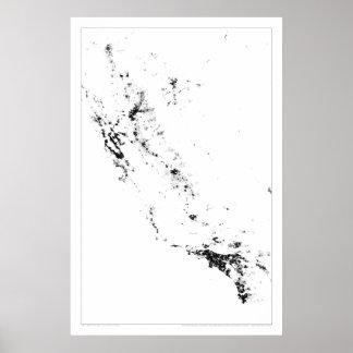 Urban California Census Dotmap Poster