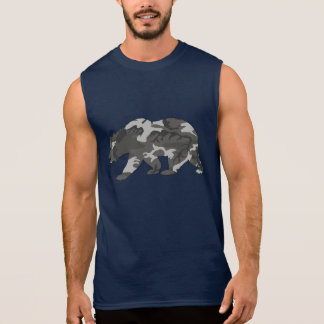 Urban Camo Pattern Bear Sleeveless Shirt