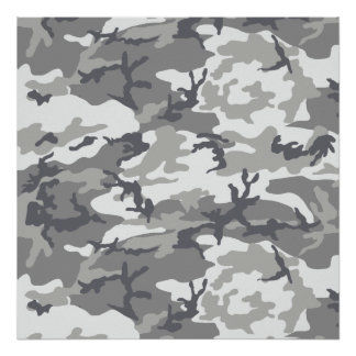 Urban Camoflage Pattern in Greys and White Poster