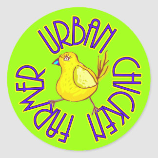 Urban Chicken Farmer Classic Round Sticker