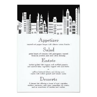 Urban City Wedding Menu Cards