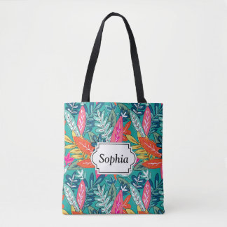 Urban colorful Jungle foliage Pattern Tote Bag