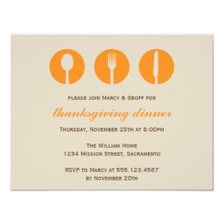"Urban dinner party orange utensil Thanksgiving 4.25"" X 5.5"" Invitation Card"