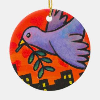 Urban Dove Round Ceramic Ornament