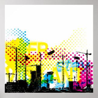 Urban dystopian landscape poster