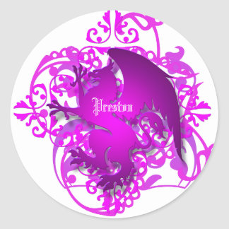Urban Fantasy Pink Griffin Add Name Stickers