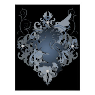 Urban Fantasy Silver Jeweled Unicorn Poster