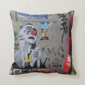 Urban Graffiti art pillow. Berlin wall, hoodie Throw Pillow