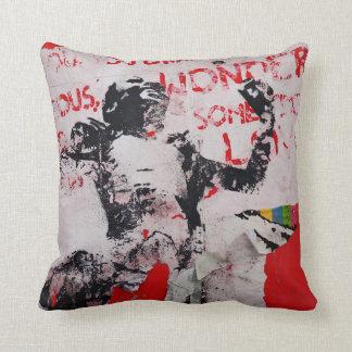 Urban Graffiti art pillow. Berlin wall, red white Throw Pillow
