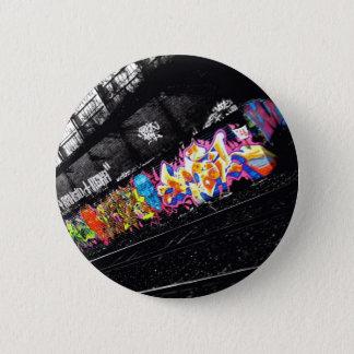 urban graffiti street art black & white with color 2 inch round button