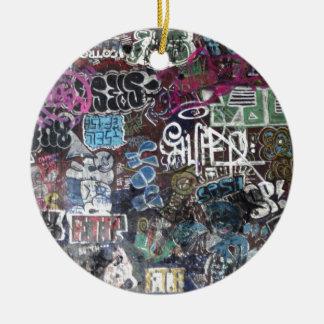 Urban Graffito Design by Adrian Dica Round Ceramic Ornament