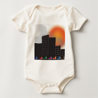 Urban Jungle Smog and Haze in a City, Cars, Sun Baby Bodysuit