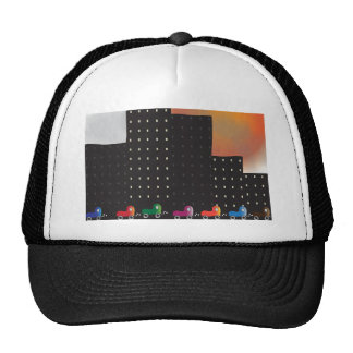 Urban Jungle Smog and Haze in a City, Cars, Sun Trucker Hat