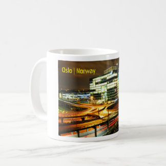 Urban landscape at night in Oslo, Norway Coffee Mug