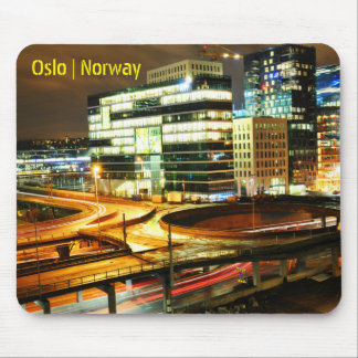 Urban landscape at night in Oslo, Norway Mouse Pad