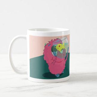 Urban monster with a goldfish coffee mug
