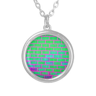 Urban Neon Brick Wall Silver Plated Necklace
