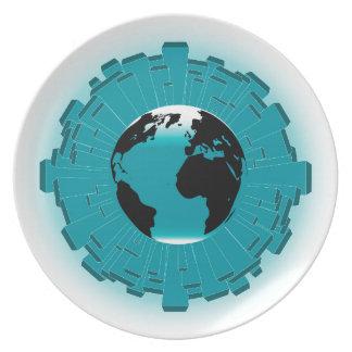 Urban Planet Earth Dinner Plates