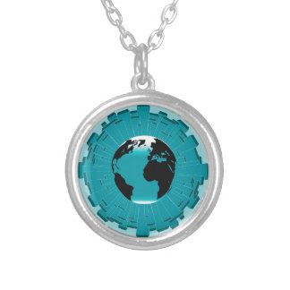 Urban Planet Earth Silver Plated Necklace