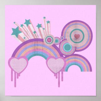 Urban Rainbow Stars and Spirals Poster
