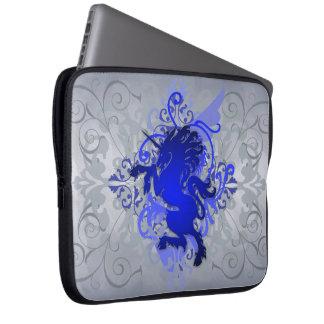 Urban Silver Fantasy Scroll Unicorn Laptop Sleeve