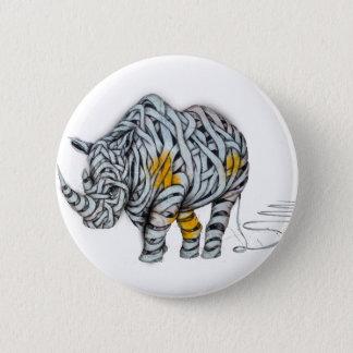 Urban Street Art: Ribbon Rhinoceros 2 Inch Round Button