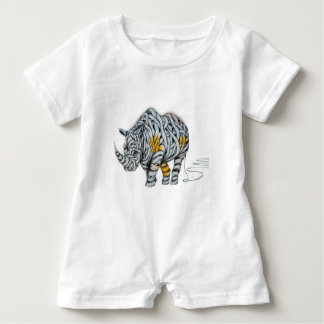 Urban Street Art: Ribbon Rhinoceros Baby Romper
