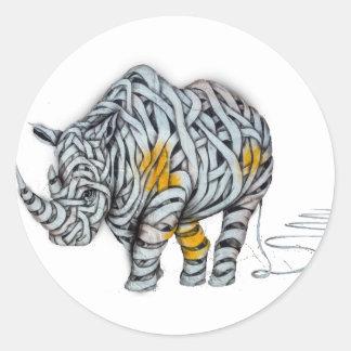 Urban Street Art: Ribbon Rhinoceros Classic Round Sticker