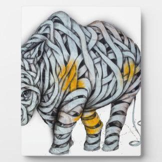 Urban Street Art: Ribbon Rhinoceros Plaque