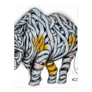 Urban Street Art: Ribbon Rhinoceros Postcard