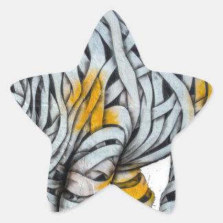 Urban Street Art: Ribbon Rhinoceros Star Sticker