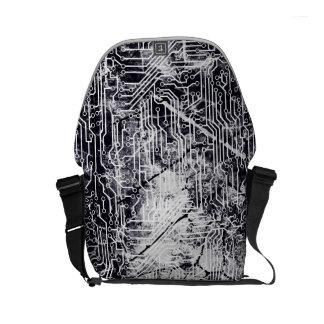 Urban Street Style Circuit Board Grunge Pattern Commuter Bag