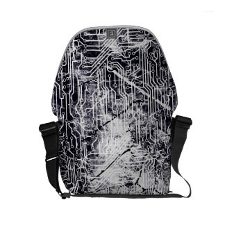 Urban Street Style Circuit Board Grunge Pattern Courier Bags