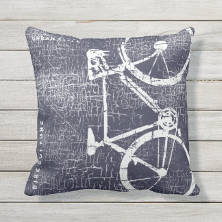 urban-style bike / bicycle on distressed blue throw pillow