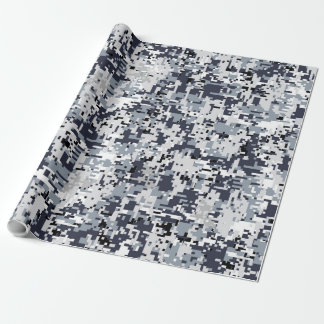 Urban Style Silver Digital Camouflage Wrapping Paper