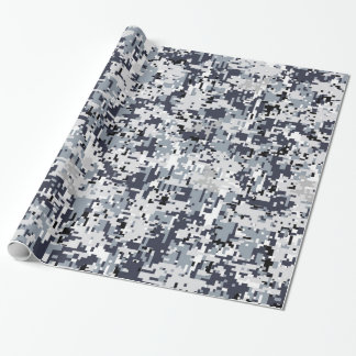 Urban Style Silver Grey Digital Camouflage Wrapping Paper