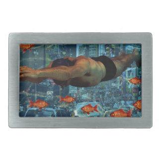 Urban swimmers rectangular belt buckles