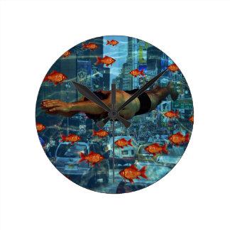 Urban swimmers wall clocks