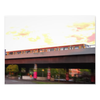 Urban train city poster (orange sky, motion blur) photo print