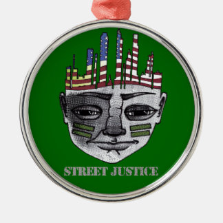 Urban Warrior by Street Justice Silver-Colored Round Ornament