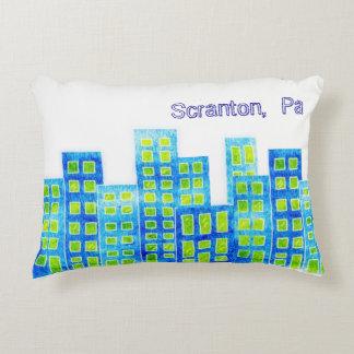 Urban Watercolor Cityscape Pillow