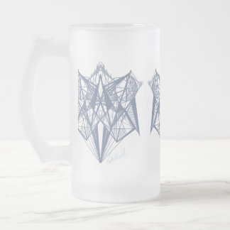 UrbnCape Blue Geometry designer Frosted Glass Frosted Glass Beer Mug