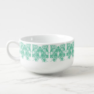 UrbnCape Geometric Green and White Soup Bowl