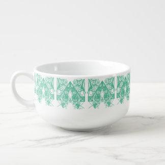 UrbnCape Geometric Green and White Soup Bowl Soup Mug